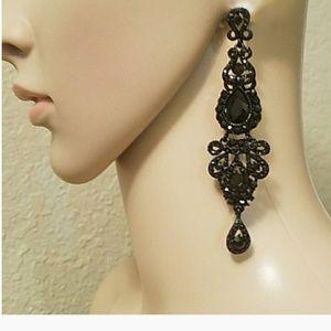 Adia Kibur Black Linear Gem Earrings New! NWT