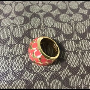 New Gold Plated Signature C Coach Ring Size 7