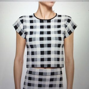 Theory Seblyn Magnified Plaid Crop Top S NWOT🌻