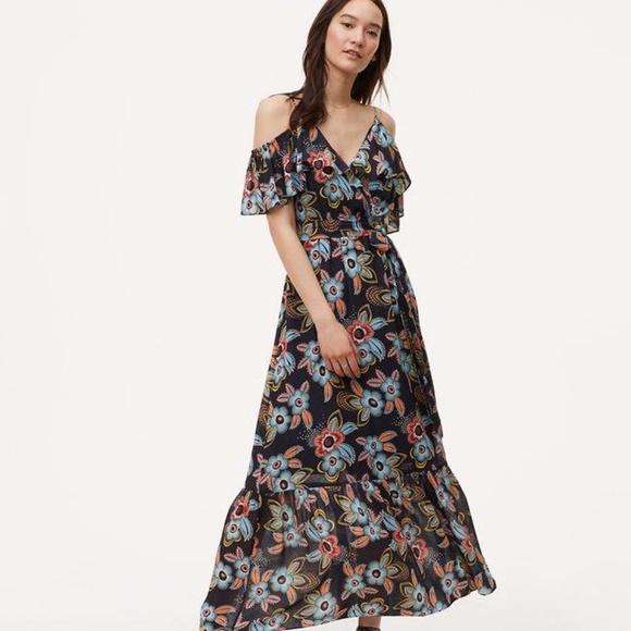 81982abf7146 LOFT Dresses   Skirts - Loft blue summer floral cold shoulder maxi dress