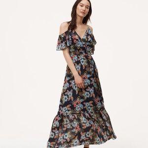 Loft blue summer floral cold shoulder maxi dress