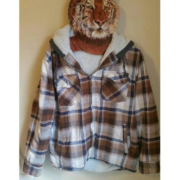 3a44da52ba2 Boyfriend plaid flannel shearling sherpa jacket. M 5a00dd35f09282ede914183c