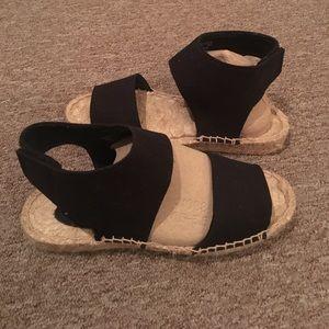 Straw sandals canvas blk/ beige