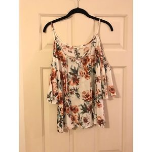 Cold shoulder white and floral top