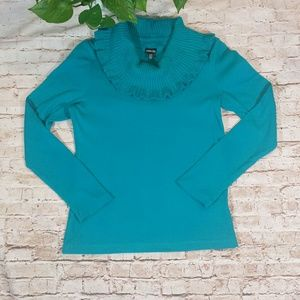 Rafaella Turquoise Ruffle Turtleneck Sweater