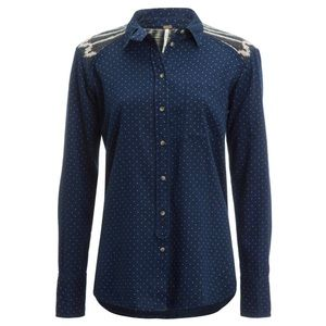 Free People Blue Sage Button Down Shirt