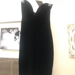 Black velour heart shaped strapless dress