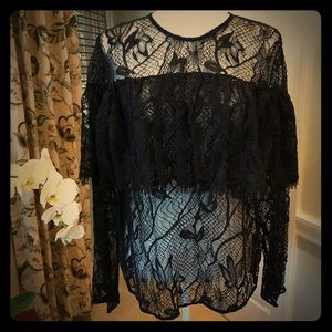 Tops - 5🌟NWOT! Sheer Blk Lace Ruffed Top - Sizes M, L