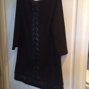 Black shift style dress with faux black trim