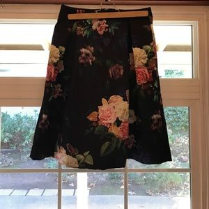 Topshop Blue Floral Midi Skirt with Zip Detail
