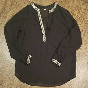 NWOT Black Tunic with Silver Beading