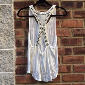 White Studded Open Racerback Tank