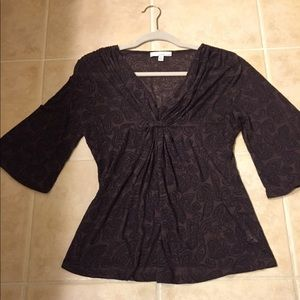 Lucy and Laurel purple paisley top size M