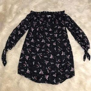 WAYF off shoulder floral print dress