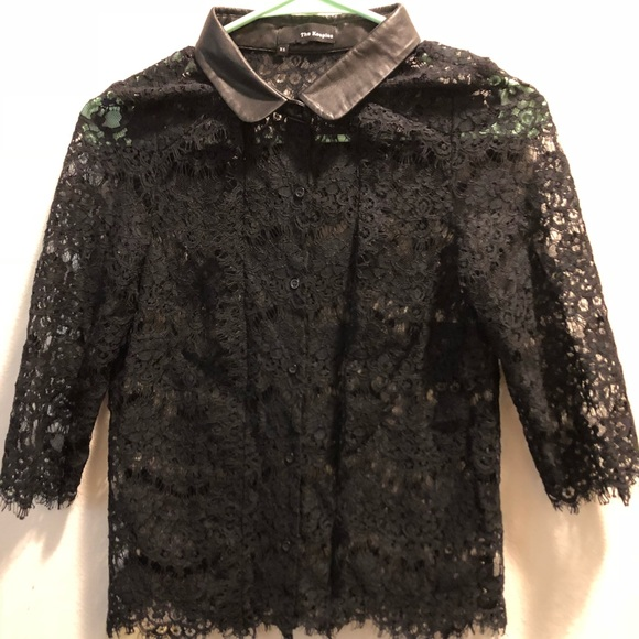 8ca9b06be7 The Kooples Tops | Lace Top Leather Collar Xs | Poshmark
