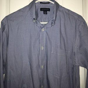 NWOT. Lands End Blue Check Pattered Shirt