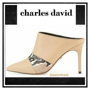charles david 'Kalia' Leather & Snakeskin Mules
