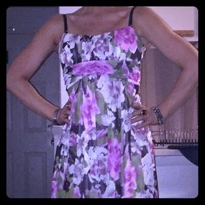 Empire waist floral dress with a tie back.