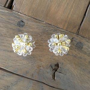 Vintage Clip On Star Burst Earrings
