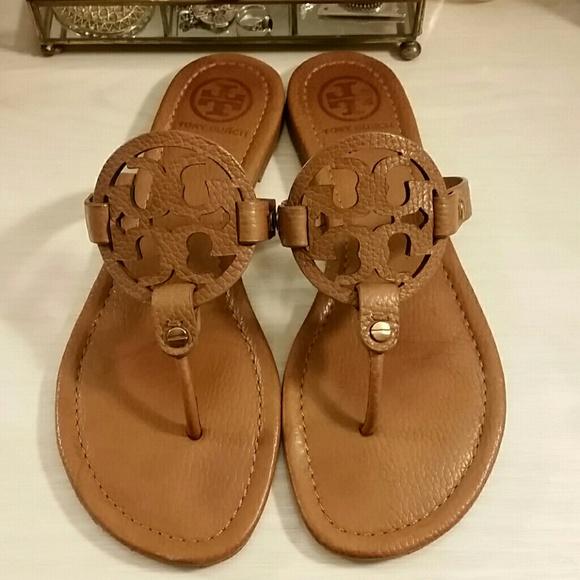 c169dd8a79407f Tory Burch Miller Sandals in Tan Leather. M 5a01011a78b31cf01d14ad8b