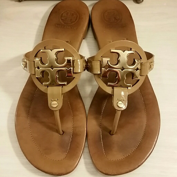 672df90d1b0d3b Tory Burch Miller Sandals in Patent Leather Tan. M 5a0103c06d64bc14ed14cee4