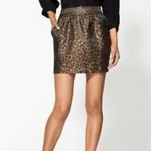 Metallic leopard print mini skirt. NWT