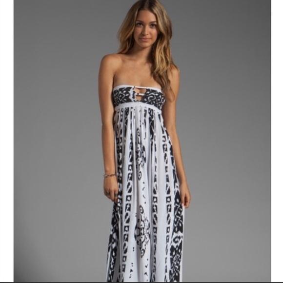 3831101f653 Indah Dresses   Skirts - Indah Flamingo Bandeau Tribal Print Maxi Dress