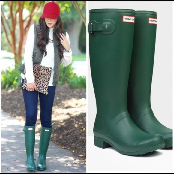 Hunter boots 37 6.5 green waterproof rain shoes