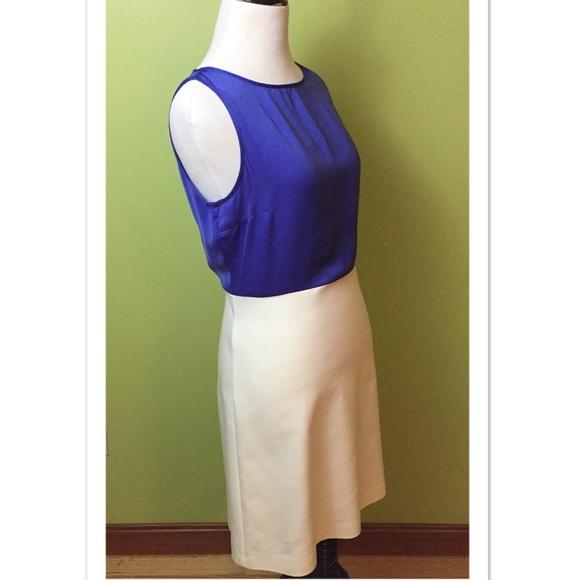 4ee39d7a Zara Dresses | Basic Blue White Color Block Sheath Dress Med | Poshmark