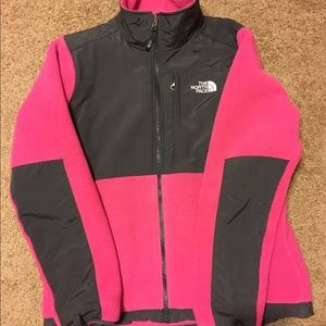 Hot pink and gray North Face Denali size Medium