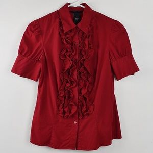 Moda International Red Ruffle Top