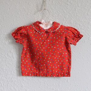 Vintage Baby Shirt Floral  Ruffle Button Down Top
