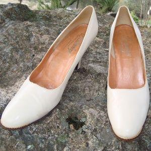 Balenciaga Cream Heels with Golden Accent, 8.5 N