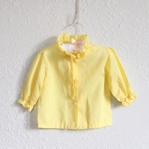 Vintage Yellow Ruffled Baby Top Button Down