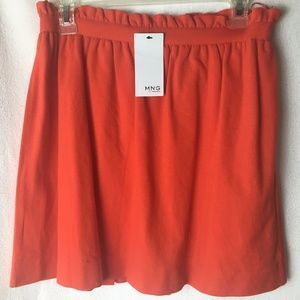 MNG by Mango Orange Pull On Pleated Skirt Small