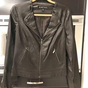 Chocolate brown leather like jacket
