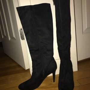 Ann Taylor Black Suede Tall Boots