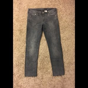 Gray Frayed Cropped H&M Skinny Low Waist Jeans