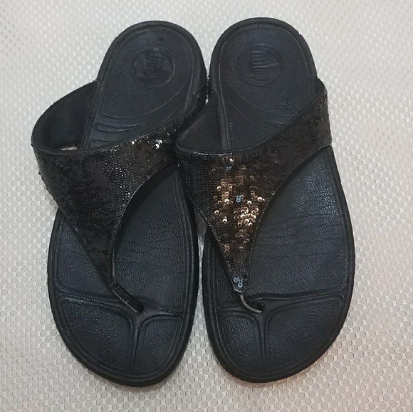 acc9f4b17 Fitflop Shoes - FITFLOP Black Sequin Sandals