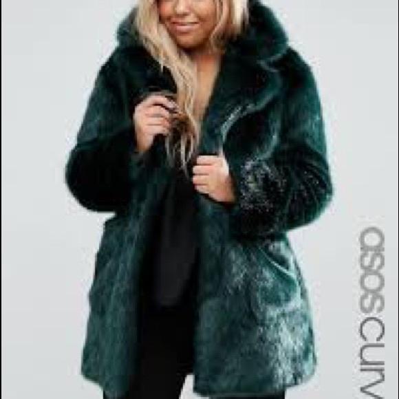 7c67686e9aa ASOS Curve Jackets   Blazers - Dark Green Faux Fur Asos Curve Size 22 Coat