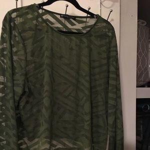 Tops - Fashion 2 Figure Green mesh long sleeve top