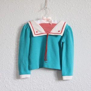 Vintage Toddler 4T Sailor Blouse Teal Red Stripes