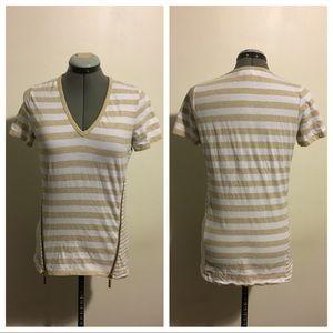 Michael Kors Tan Striped Zipper Tee