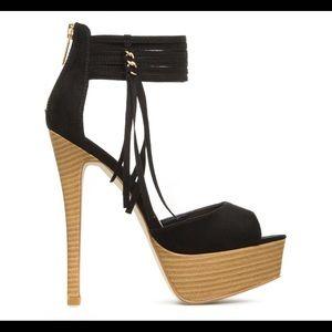 ShoeDazzle Black Sandal Heels Size 10