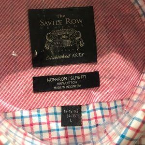 The Savile Row Company Shirts - Checkered Men's Long-Sleeve Dress Shirt