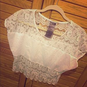 womens white lace silk crop top small.