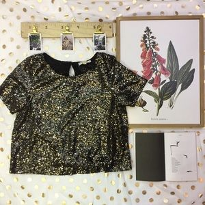 Black and Gold Sequins Keyhole Blouse Size Medium