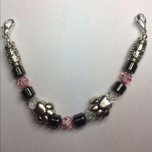 Pink and Black Hematite Medical ID Bracelet