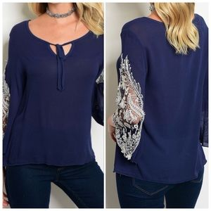 Navy Long Sleeve Lace Top