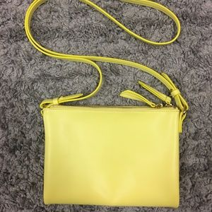 Yellow Cross-Body 3 Pocket Purse